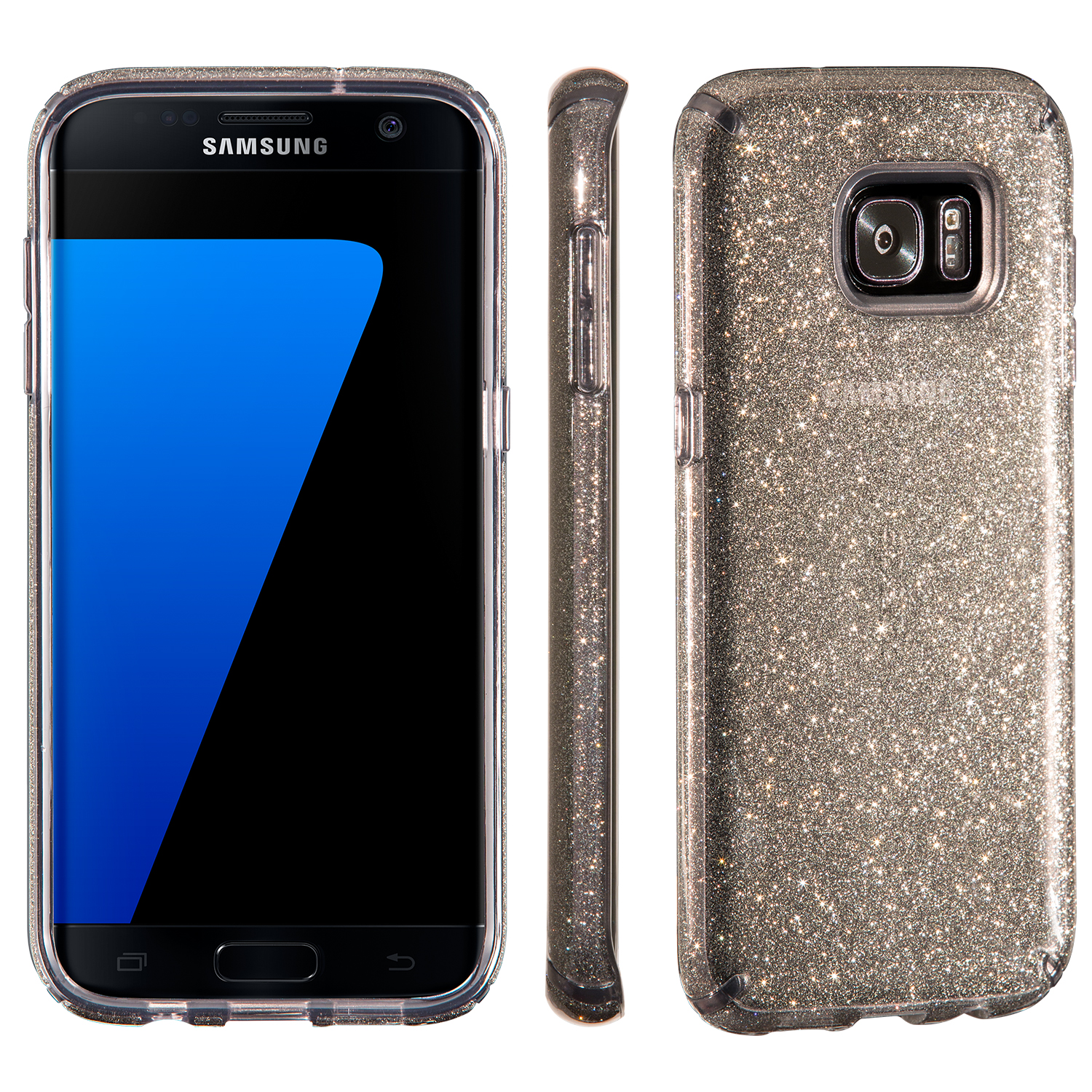 Search and compare best prices of Speck CandyShell Clear with Glitter Samsung Galaxy S7 edge Cases Onyx/Gold Glitter in UK