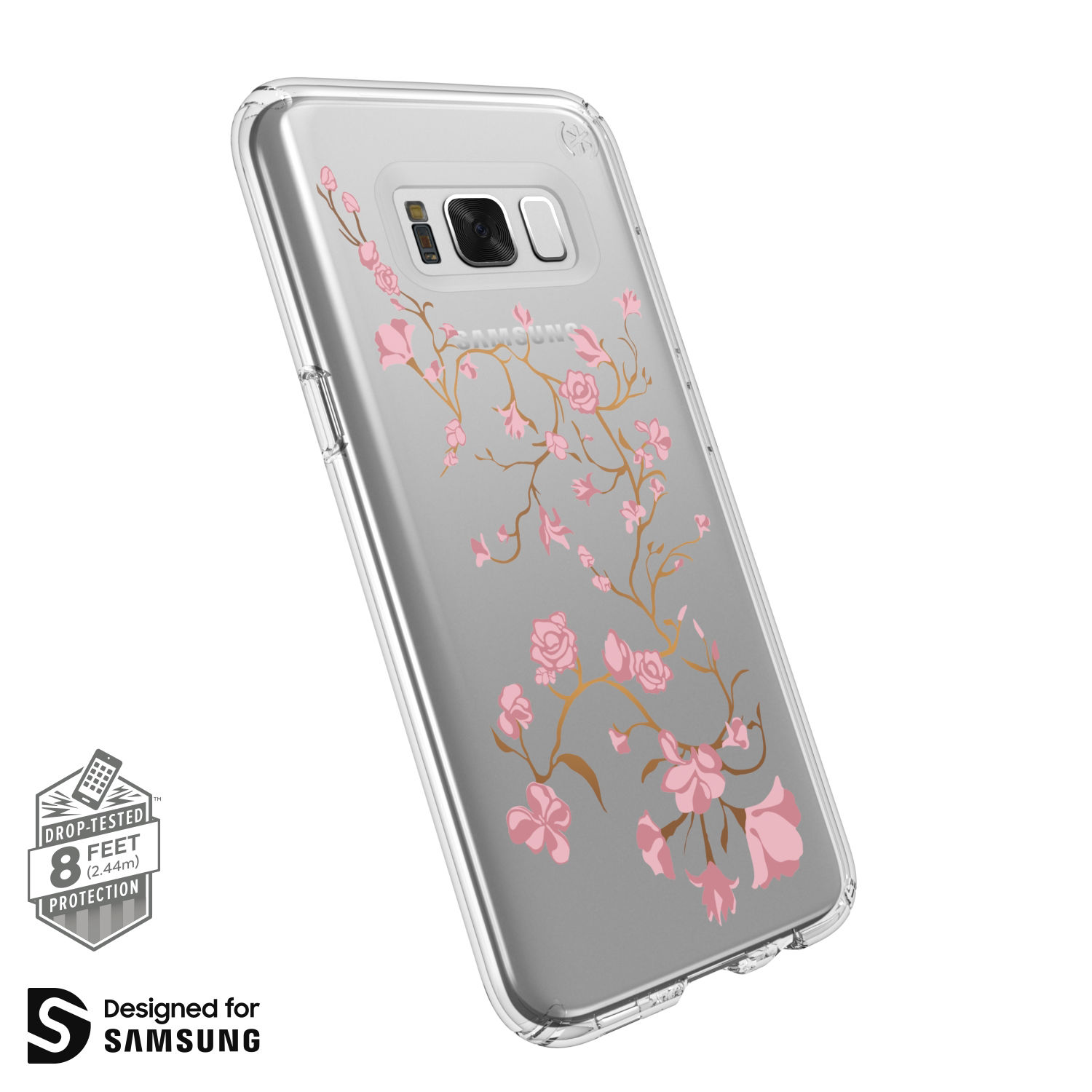 Search and compare best prices of Speck Presidio Clear with Print Samsung Galaxy S8 Plus Cases Golden Blossoms Pink/Clear in UK